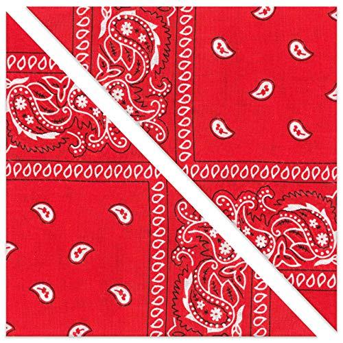 KEVOLLA RED BANDANA Halstuch Dreieckstuch Damen Cowboy Tuch Paisley Bandana rot Hunde Halstücher 2 Stück Nickitücher Baumwolle