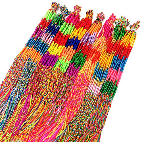 40PCS 4 Pulseras Trenzadas Estilo, Hilo Trenzado Hecho a Mano Colorido, Pulseras la Amistad, Pulseras Tobillo Muñeca (Color Aleatorio)