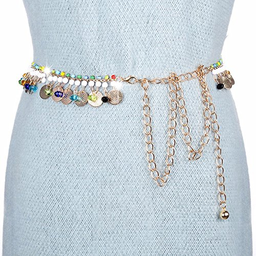 LONFENN President Belt Stylish Metal Slender Waist Chain Elegant Water Diamond Studded Skirt 裤, Gold/Color,63cm-90cm