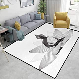 Carpet for Kids Meditating Statue Silver Color on Lotus Background Far Sage Art Print Kitchen Rugs Area White Grey 7'6x10'