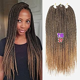Crotchet Braids Box Braids Hair Extensions Ombre Black Brown Burgundy Kanekalon Braiding Hair (18inch,1B-27)