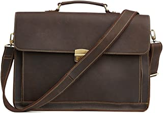 XIAOPING Retro Leather Briefcase Expandable Multi-Function Computer Bag Shoulder Bag Work Bag