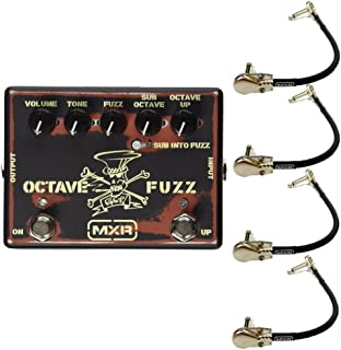 MXR SF01 Slash Octave Fuzz Effects Pedal Bundle with 4 MXR Right Angle Patch Cables