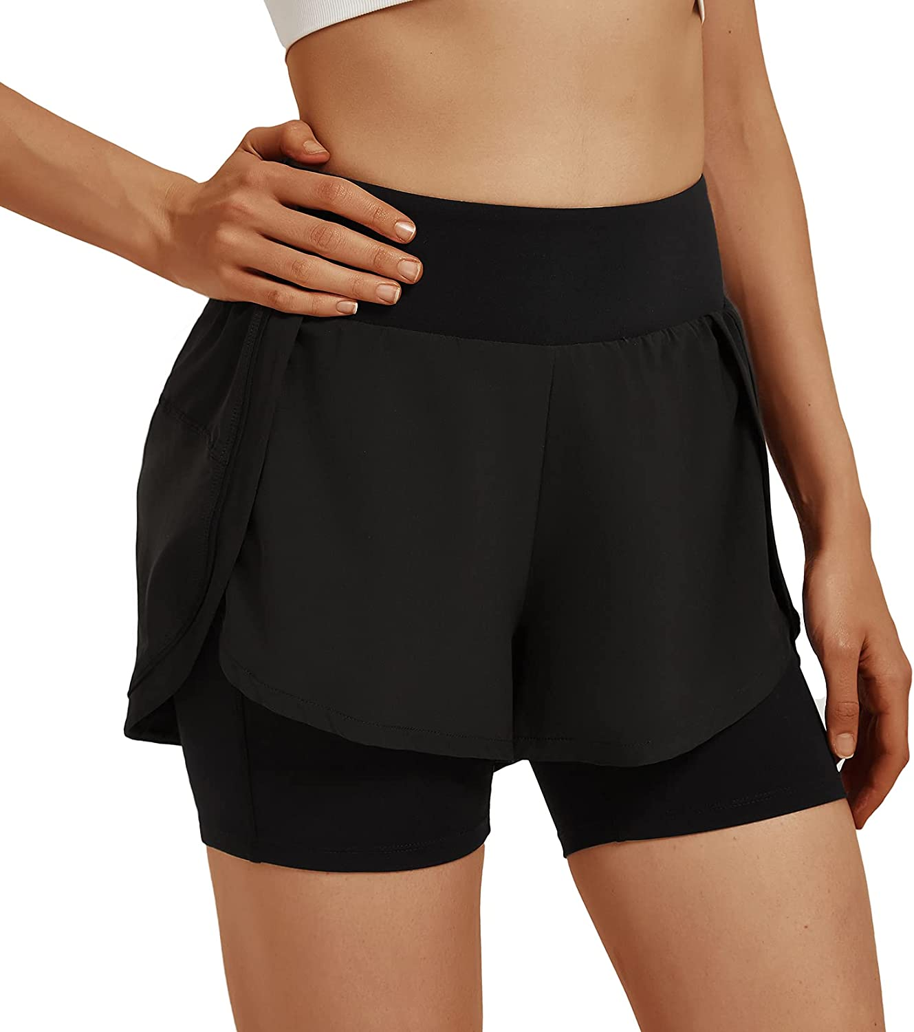 Inno Women's 2 in 1 Outlet sale feature Over item handling ☆ Running Workout Pockets with Athletic Shorts