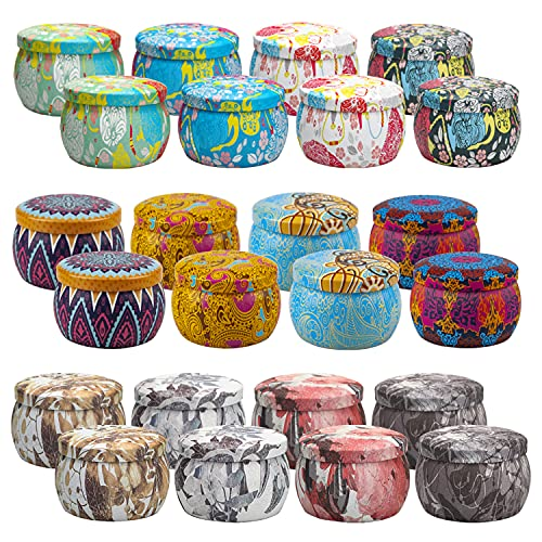 Candle Tins, 24 Pack 4.4Oz Candle Containers for Making Candles, Candle Tins for Making Candles, Bulk Candle Jars, DIY Candle Making Tins, Candle Tins with Lids Bulk, for DIY Candles, Holiday Gifts