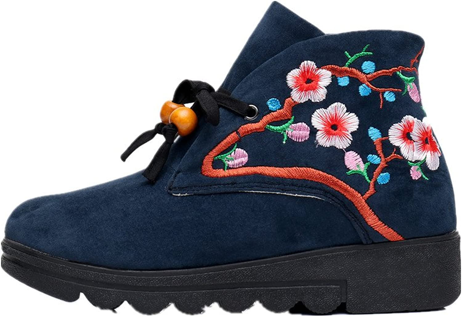 Tianrui Crown Women and Ladies The Peach Blossom Embroidery Short Ankle Boot shoes