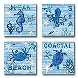 WESIATOR - Seashell Pictures for Bathroom Walls Modern Coastal Decor Ocean Beach Art, Canvas Prints, Ready to Hang (30x30cmx3pcs)