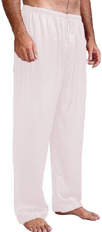 N /C Men's Satin Pajama Pant Comfy Soft Lounge Sleep Pants Long PJ Bottoms