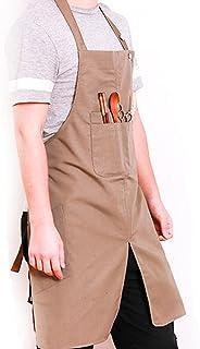 FMSBSC Schürze Extra Lange Krawatten Mit Taschen Home Küche Kochen Backen Garten Schürze Für Frauen Männer,Khaki,Large