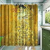 INVIN ART Klimt Duschvorhang-Set mit Haken, Adele Bloch Bauer (Frau in Gold)