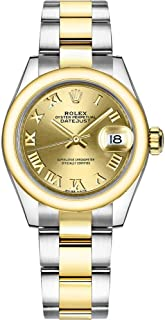 Women's Rolex Lady-Datejust 28 Steel and Gold Roman Numeral Dial Watch 279163
