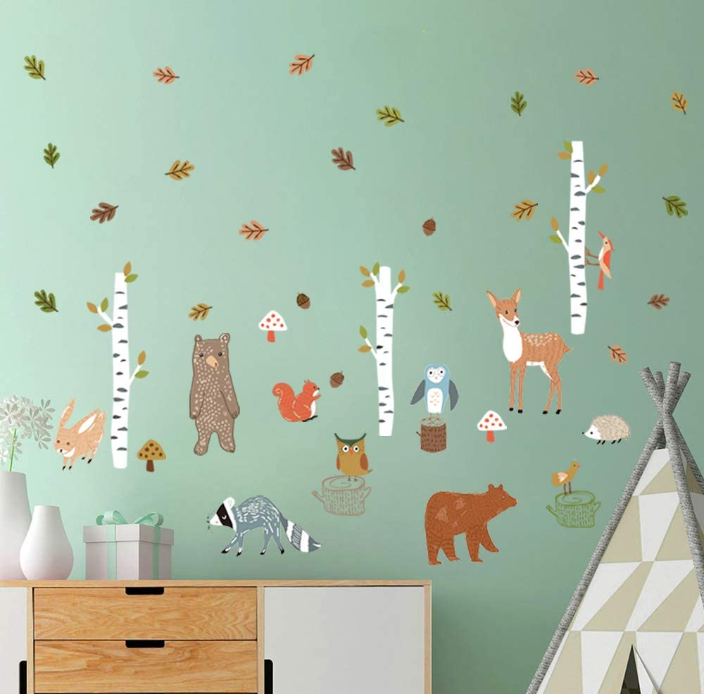 decalmile Woodland Animal Wall Decals Ranking TOP14 Deer Tree Fixed price for sale Bear Birch