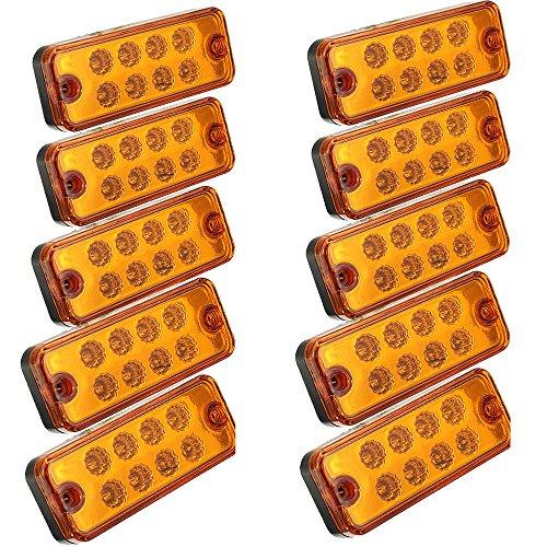 Seitenleuchten, HEHEMM Seitenmarkierungsleuchte 8 LED Schlussleuchte Clearance Rücklicht Positionsleuchte Wiederherstellungslampen Markierungsleuchten für Anhänger LKW 24V 10 PCS (Bernstein)