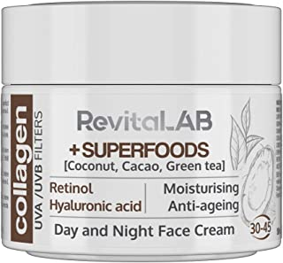 RevitaLAB - Crème de jour et de nuit au collagène hydratante et anti-âge, enrichie en acide hyaluronique, super-aliments, ...