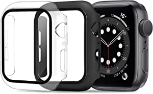 ULUQ Case for Apple Watch Series 6/5 /4 /SE 40mm with Tempered Glass Screen Protector 2 Pack, Guard Bumper Full Coverage Cover Compatible with iWatch