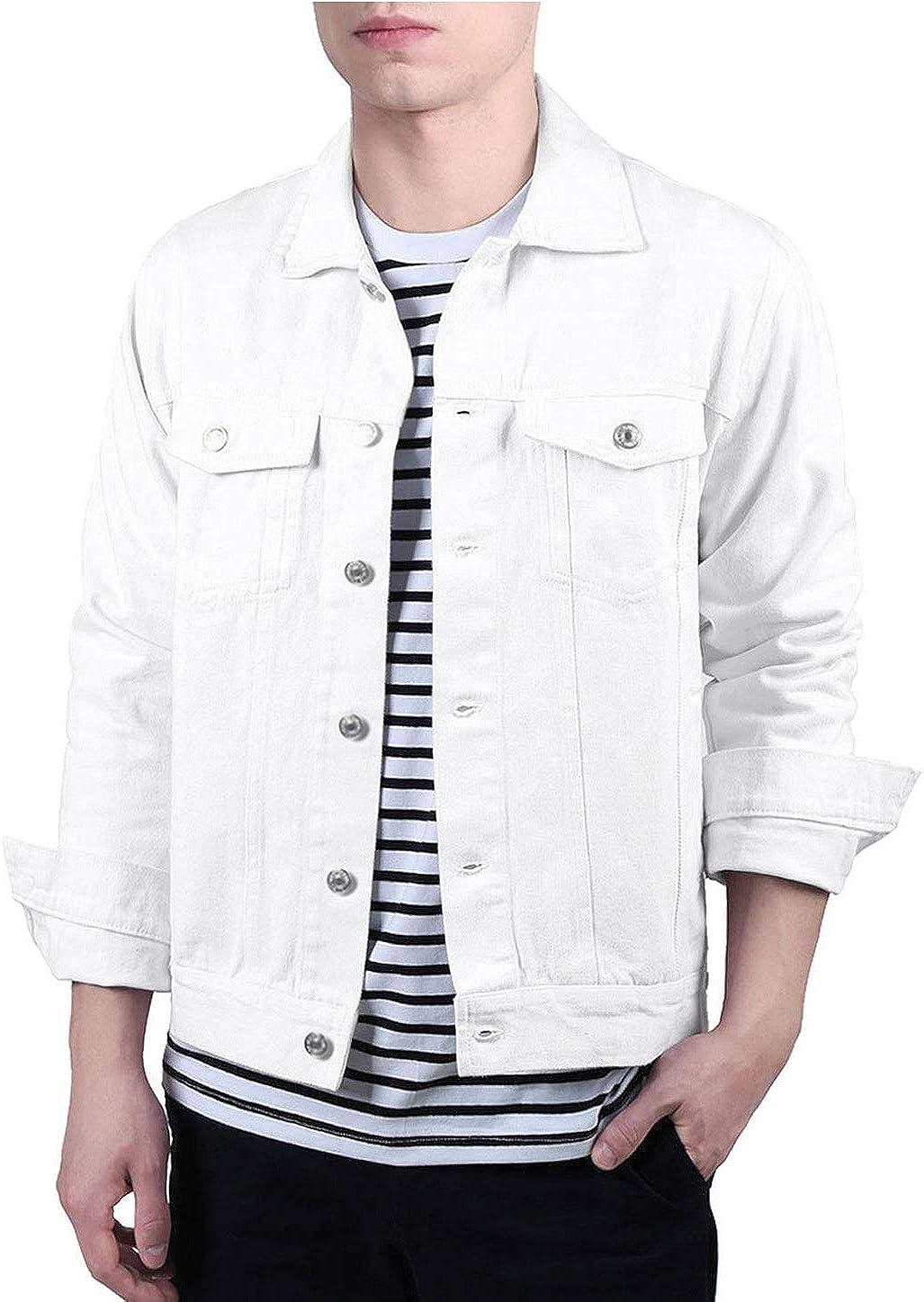 Lars Amadeus Men's Jean Jacket Trucker Casual Lightweight Denim Jackets