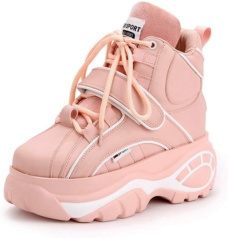 Fohee Winter Casual Turnschuhe Dorky Dad Schuhe, Dicke Sohlen Sohlen Sohlen Hohe Oberfläche Innen Erhöhen 2 cm Pu Leichte, Mode Damen Schuhe Plattform Schuhe,Rosa,37  e80d18