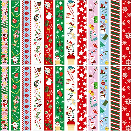 Outus 600 Pieces Christmas Paper Chains Merry Christmas Craft Paper Chains for Christmas and Festive Party Decorations, 12 Styles