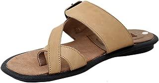 Athlego - Brown Leather Flip-Flops & Slippers for Men