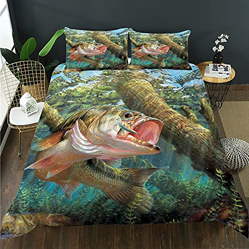 HOSIMA Fishing Duvet Cover Set, Big Pike Fish Catching Wobblers Reel Trap in River Raptorial Predator Hunting Print, Decorative 3 Piece Bedding Set, Full Size for/Teens/Adults(BLG2,Queen 88'x 88')
