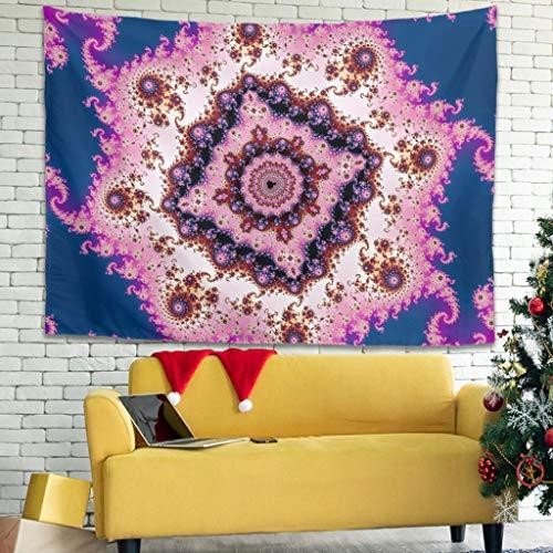 Homedb Abstraktes Fractal Blumen Rosa Blau Wandbehänge Wandtuch Tapestries Picknickdecke Strandtuch Bedspread Wohnzimmer Wandkunst White 150x130cm