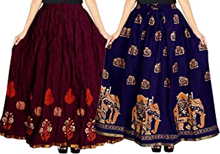 jwf Women's Cotton Jaipuri Skirt (Multicolor,Free Size) Combo Pack of 2 Peice