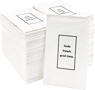"""[200pcs] Living Chef Premium Durable 2-Ply, 1/8 Fold White Dinner Napkins - Signature Quotes """"foods friends good times"""" fo..."""