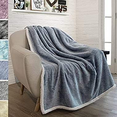 PAVILIA Premium Sherpa Throw Blanket for Couch, Sofa | Soft Micro Plush Reversible Throw | Melange Fleece Lightweight All Season Blanket (50 X 60 Inches Navy Blue)