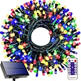 Ucutely Solar String Lights Outdoor,108 Ft 300 LED Solar Christmas Lights with Remote,8 Modes Waterproof Patio Lights for Christmas Tree Patio Yard Garden Party Decor