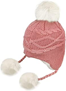 5092190c9d61f IPENNY Warm Knitted Stripe Christmas Hat Fleece Lining Earflap Hats with  Pom Cuff Beanie Stocking Cap