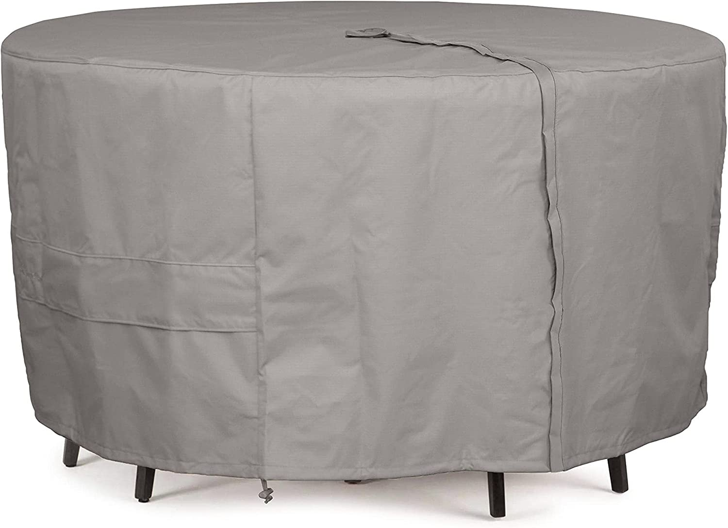 Covermates Round Dining Table/Chair Set Cover   Heavy Duty Polyester,  Weather Resistant, Center Hole for Umbrella, Patio Table Covers Ripstop Grey