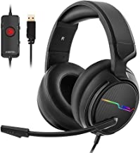 Jeecoo USB Pro Gaming Headset for PC- 7.1 Surround Sound Headphones with Noise Cancelling Mic- Memory Foam Ear Pads RGB Lights for Laptops photo