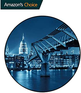 DESPKON-HOME Cityscape Modern Vintage Rugs,Millennium Bridge and St Pauls Cathedral at Night in London Monument Town Scenery Area Rug - Perfect for Any Place Round-31 Inch,Dark Blue
