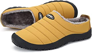 Oberm Womens Mens House Slippers Indoor Outdoor Snow Winter Warm Shoes with Fur Lined Slip-on Anti-Skid Rubber Sole