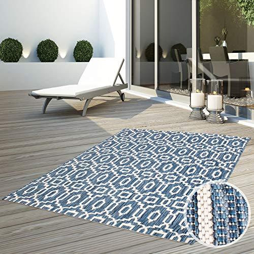 CC Teppich Flachflor Terrassenteppich Außenteppich Modern Outdoor fest Geknüpft Outside Outdoor Verschiedene Designs, Größe in cm:160 x 230 cm, Sunset:Vintage-Blau