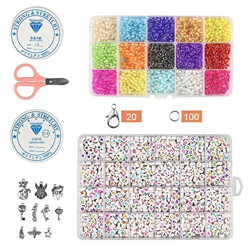 ZesNice 3800pc Cuentas de Colores Mini Cuentas y 1200 Abalorios Letras ,Con Cuerda de Cristal para Pulseras DIY Manualidades