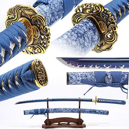 Eroton-1060/1095 high Carbon Heat Tempered Full Handmade Hand Forged Japanese Real Authentic Samurai Katana Sword,Full Tang,Functional,Practical,Sharp,Blue,2.7lb