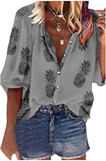 HEFASDM Women Floral Printed V-Neck Casual Button Down Fashion Blouse Top