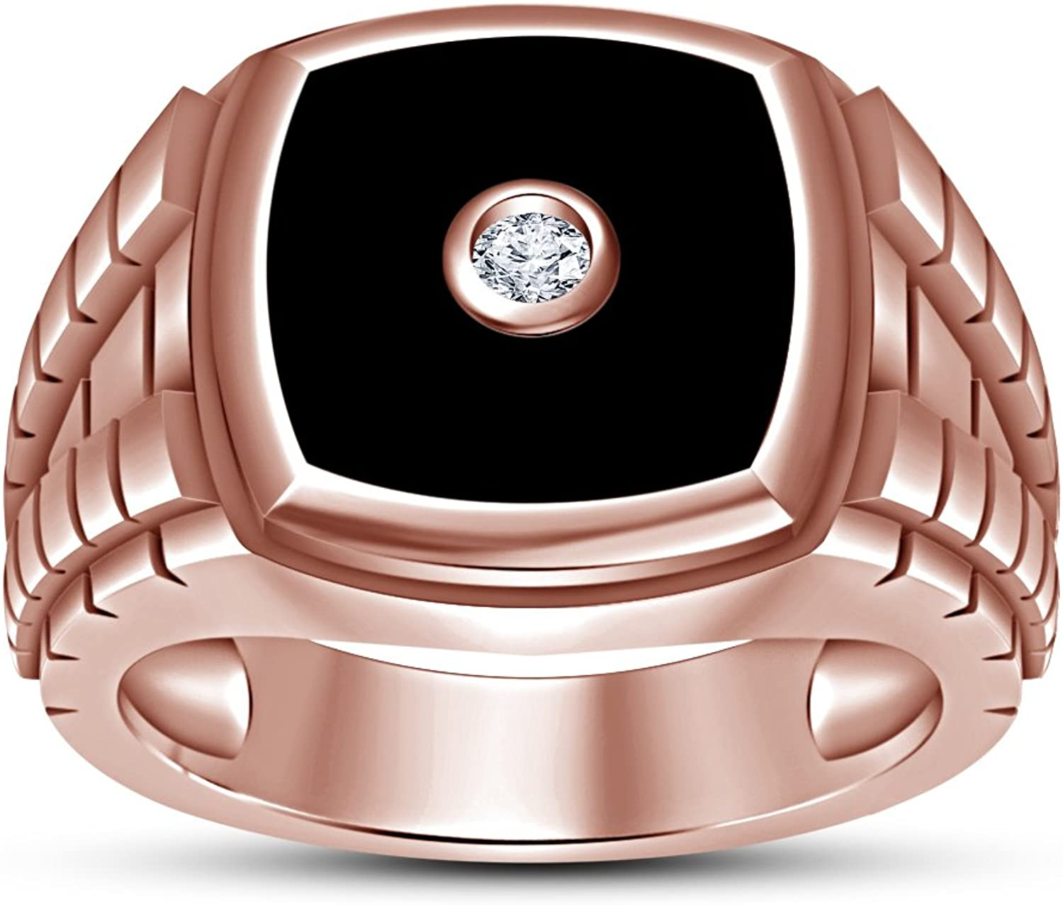 Vorra Fashion 14k pink gold Plated Round Cut White Cubic Zirconia Solitaire Ring For Men's Gift