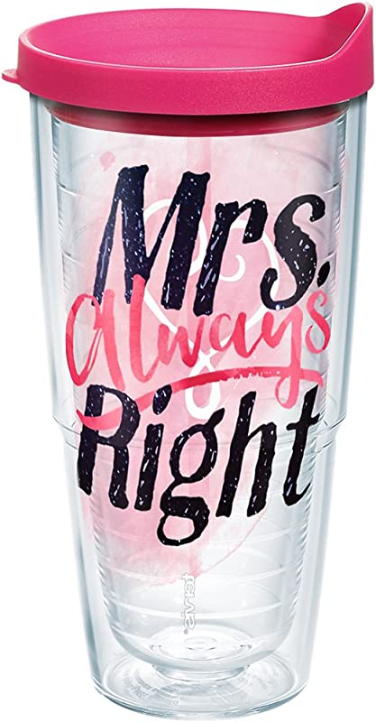 Tervis 1243906 Mrs Always Right Heart Tumbler With Wrap And Fuchsia Lid 24oz Clear