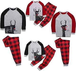 Family Matching Holiday Man Daddy Printed Top+Stripe Pants Xmas Men Women Boy Girl Kids Christmas Family Nightwear Pajamas Set (M-2XL)