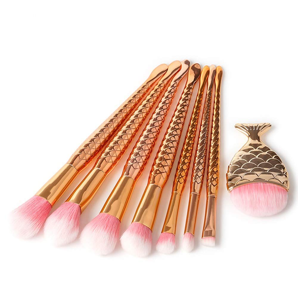 HIOJDWA Makeup Brushes 8Pcs Set Eyeshadow Special price for a limited discount time Mermaid