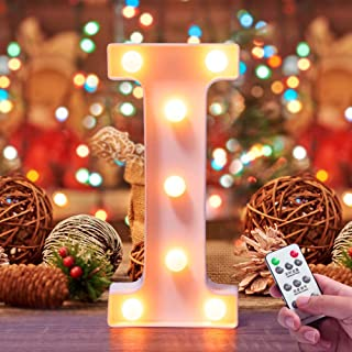 Lifegoo LED Letter Lights 26 Alphabet White Marquee Letters Night Light Sign with Diamond Bulbs Remote Control Timer Dimmable for Wedding/Party Christmas Lamp Home Bar (I)