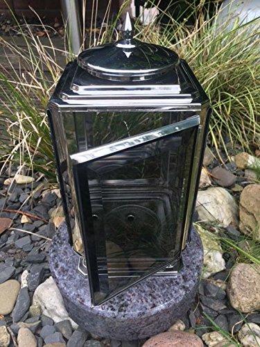 Grablaterne aus Edelstahl 26cm x 13,5cm inklusive Granitsockel Orion Rund Edelstahllampe Leuchte aus Edelstahl Grablicht Grablaterne Grablampe aus Edelstahl mit Sockel 19cm x 19cm x 5cm