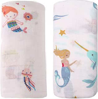 Bamboo Muslin Swaddle Blankets - 2 Pack Mermaid & Narwhal - Softest Baby Receiving Blankets Baby Shower Gifts for Girls by Little Jump (Mermiad)