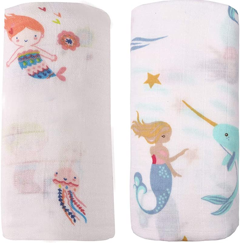 Bamboo Muslin Swaddle Blankets 2 Pack Mermaid Narwhal Softest Baby Receiving Blankets Baby Shower Gifts For Girls By Little Jump Mermiad