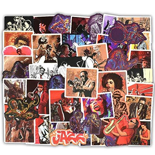 Jazz Blues Sticker Rock Music Graffiti Sticker Instrument Car Laptop Guitar Suitcase 50Pcs