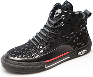 Rayiisuy 7CM UP メンズ スニーカー 背が高くなるシークレット カジュアル 本革ブーツ ミドルカット アウトドアブーツ スケートボードブーツ 通気性 歩く靴 アンチスリップ ユニセックス カジュアル