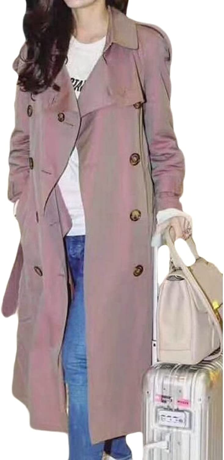 Emastor Women Classic Notched Lapel DoubleBreasted Trench Coat Outwear with Belt