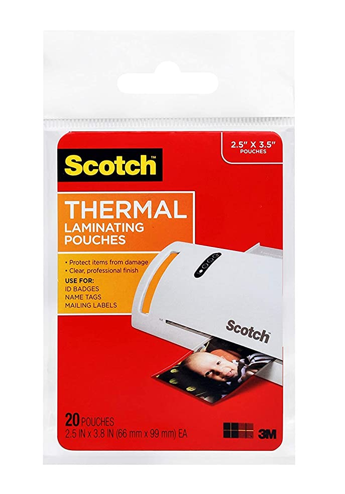 Scotch Thermal Laminating Pouches 1R2B, 2.5 x 3.8-Inches, Wallet Size, 40-Pack (TP5904-20)